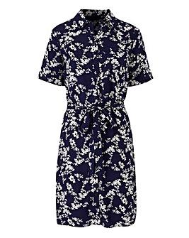 Navy Print Short Sleeve Shirt Dress