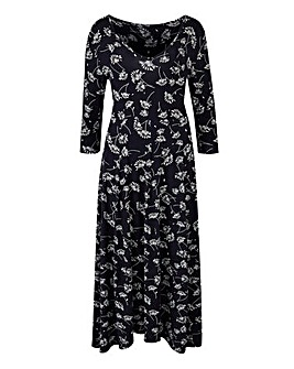Black Print Jersey Midi Dress - 45in