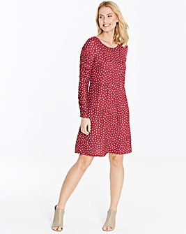 Red Ruched Sleeve Swing Dress