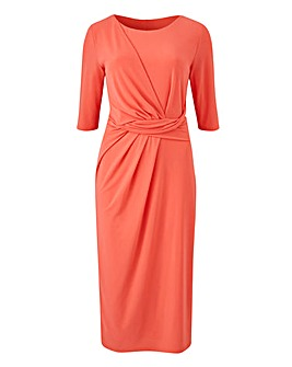 Coral Drape Front ITY Dress