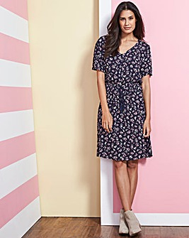 Navy Floral Crinkle Tea Dress