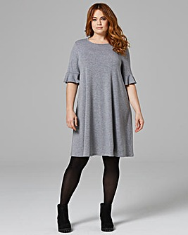 Plain Frill Jersey Swing Dress