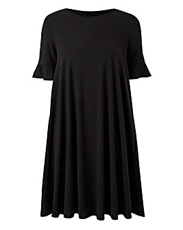 Black Frill Jersey Swing Dress