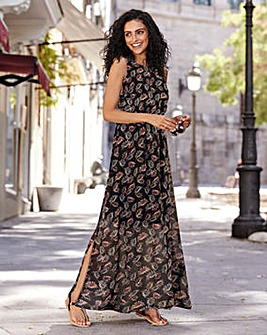 Floral Print Cut Away Maxi Dress