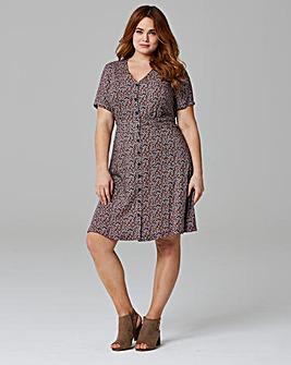 Navy Print Tea Dress