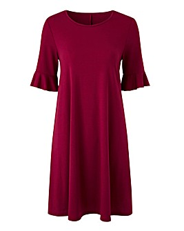 Berry Red Frill Jersey Swing Dress