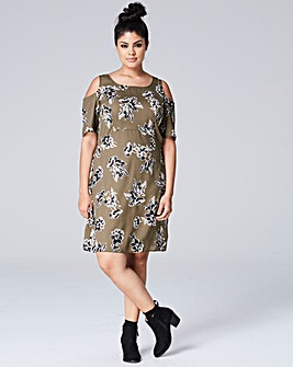 Khaki Floral Cut Out Shoulder Dress