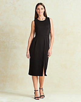 Black Split Front Smart Dress