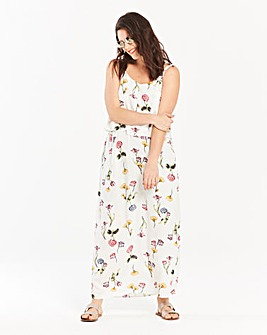 Ivory Floral Print Layer Maxi Dress