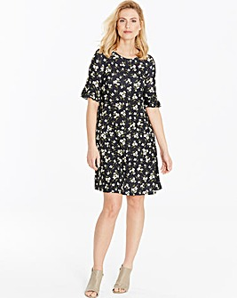 Black Print Frill Jersey Swing Dress