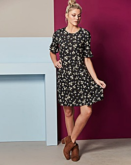 Black Print Frill Jersey Swing Dress
