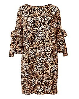 Animal Print Tie Sleeve Shift Dress
