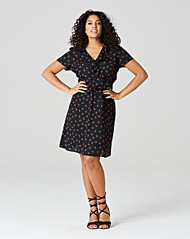 Black Cherry Print Frill Woven Tea Dress