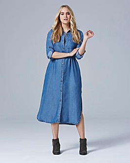 Soft Lyocel Denim Longline Shirt Dress