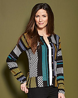 Graphic Print Crew Neck Cardigan