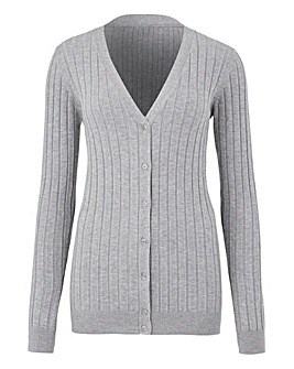 Grey Marl Rib V Neck Cardigan