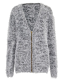 Black/Ivory Fluffy Cardigan with Zip