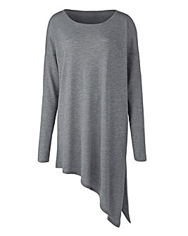 Grey Marl Asymmetric Hem Jumper
