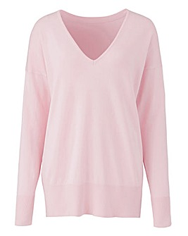 Pale Pink V Neck Jumper