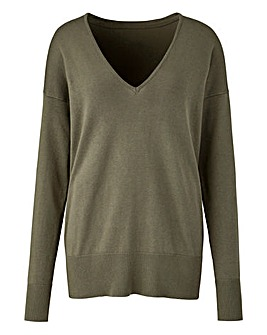 Silver Sage V Neck Jumper