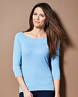 Ice Blue Bardot Jumper