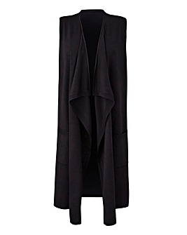 Black Sleeveless Waterfall Cardigan