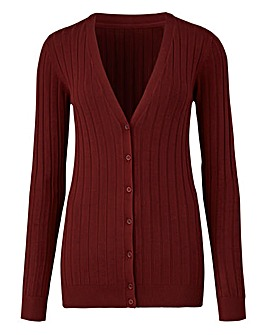 Nutmeg Rib V Neck Cardigan