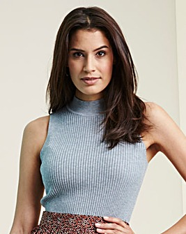 Grey Marl Sleeveless Rib Top