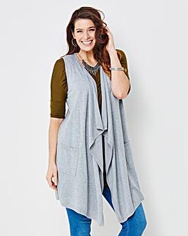 Grey Sleeveless Waterfall Cardigan