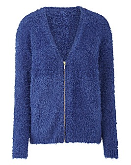 Iris Blue Fluffy Cardigan With Zip