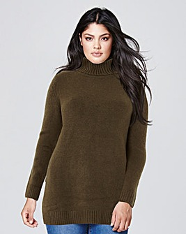Dark Olive Boucle Roll Neck Tunic