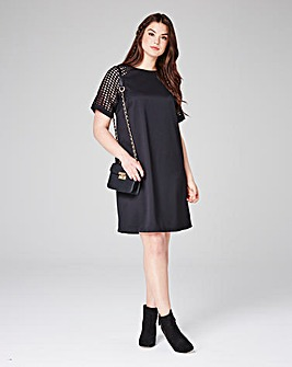 Lovedrobe Crochet Sleeve Swing Dress