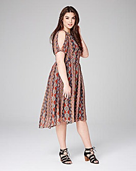 Lovedrobe Diamond Print Skater Dress