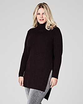 Plum Boucle Roll Neck