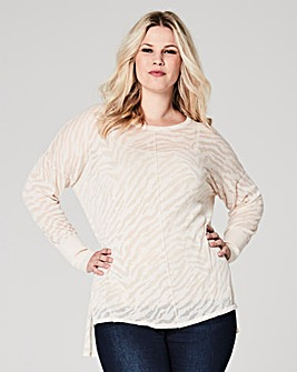 Oatmeal Zebra Print Burn Out Jumper