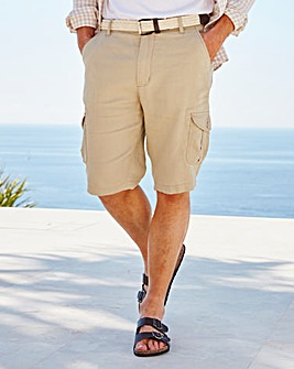WILLIAMS & BROWN Linen Cargo Shorts