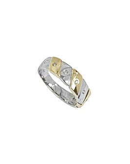 9ct Two Tone Diamond Set Band Ring