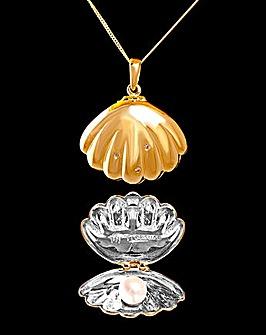 Pearl and Diamond Set Clam Pendant