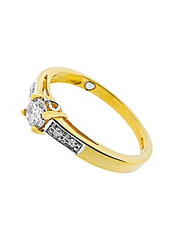 9ct YG 0.25ct Diamond Romancing Ring