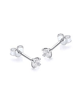 9ct White Gold 3mm Round Studs