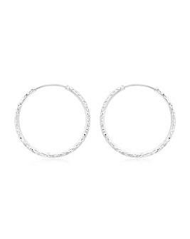 9Ct Gold 27mm Diamond Cut Hoop Earring