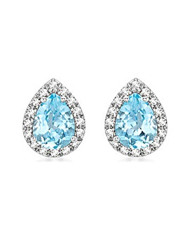 9CT White Gold Diamond & Blue Topaz