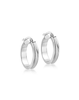 9ct White Gold 19mm Satin Creoles