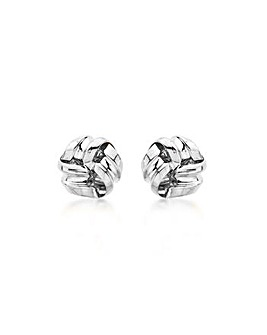 9ct White Gold 9mm Knot Stud Earrings