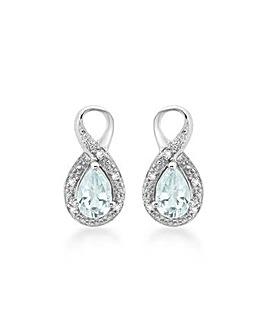 9ct White Gold Aquamarine Diamond Studs
