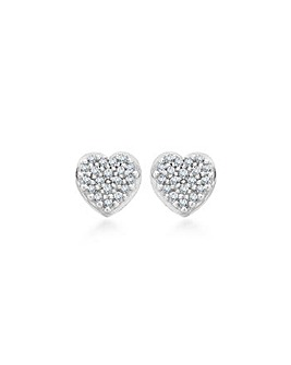 9Ct Gold Diamond Heart Stud