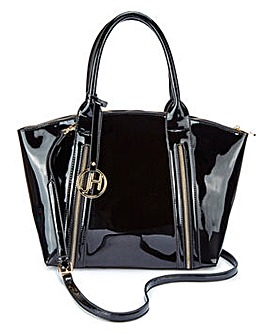 Joanna Hope Black Patent Zip Tote Bag