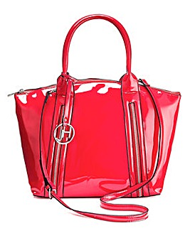 Joanna Hope Red Patent Zip Tote Bag