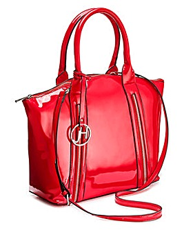 Joanna Hope Red Patent Tote With Zip