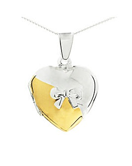 Silver Heart Shaped Locket With Bow